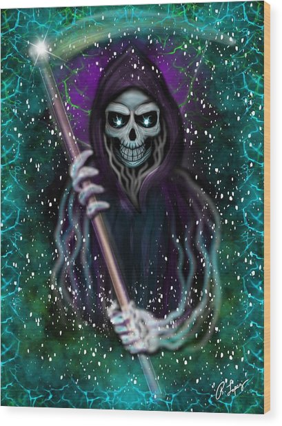 Galaxy Grim Reaper Fantasy Art Wood Print