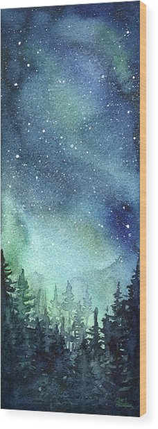 Galaxy Watercolor Aurora Painting Wood Print
