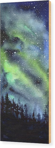 Galaxy Watercolor Nebula Northern Lights Wood Print