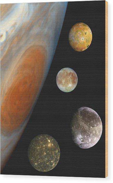 Galilean Moons Of Jupiter Wood Print