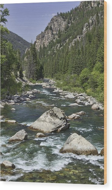 Gallatin River House Rock Wood Print