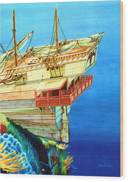 Galleon On The Reef 2 Filtered Wood Print
