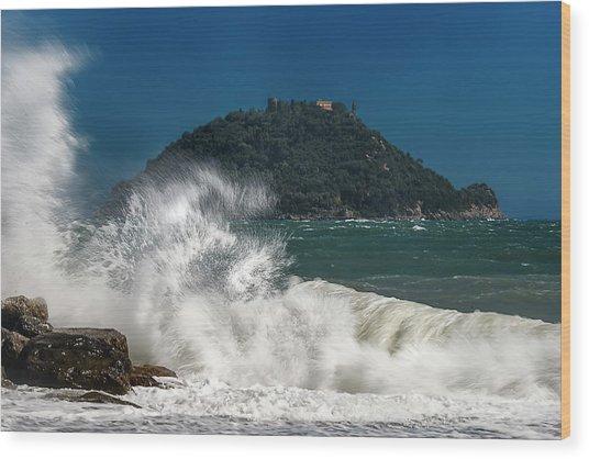 Gallinara Island Seastorm - Mareggiata All'isola Gallinara Wood Print