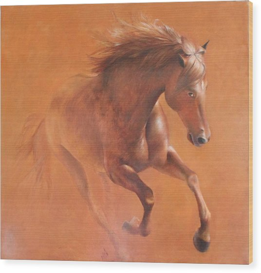 Gallop In The Desert Wood Print