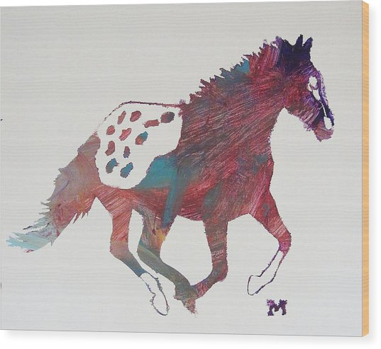 Galloping Apaloosa Wood Print