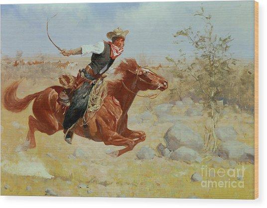 Galloping Horseman Wood Print