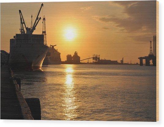 Galveston Harbor Wood Print