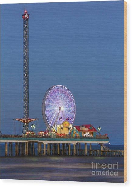Galveston Pier  Wood Print