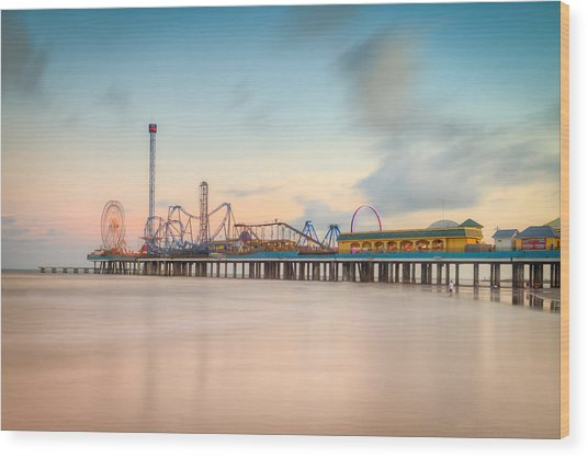 Galveston Pleasure Pier Sunset Wood Print