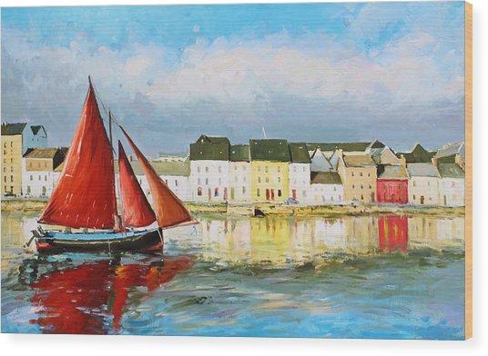 Galway Hooker Leaving Port Wood Print
