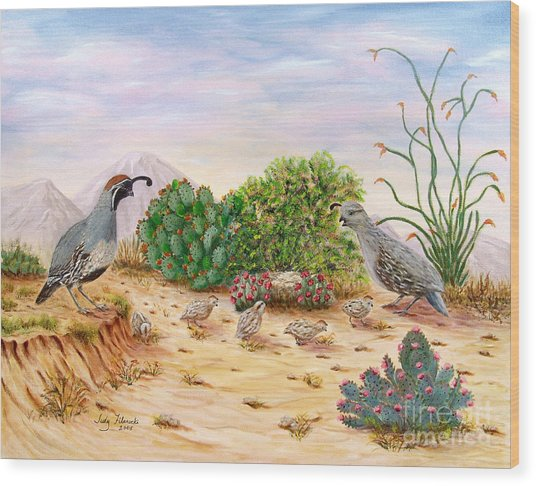 Gambel Quails Day In The Life Wood Print