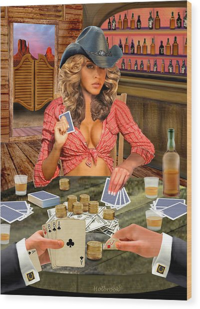 Gamblin' Cowgirl Wood Print