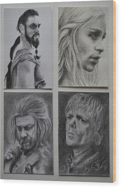Game Of Thrones Group Wood Print