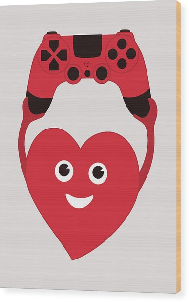 Gamer Heart Wood Print