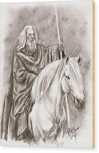 Gandalf With Shadowfax Wood Print by Maren Jeskanen
