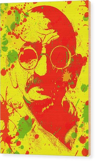 Gandhi Splatter Wood Print