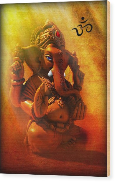 Ganesha Hindu God Asian Art Wood Print
