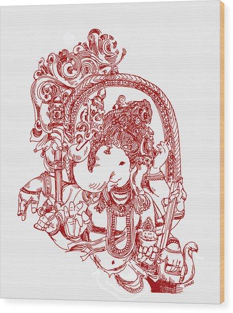 Ganesha Line Drawing Wood Print