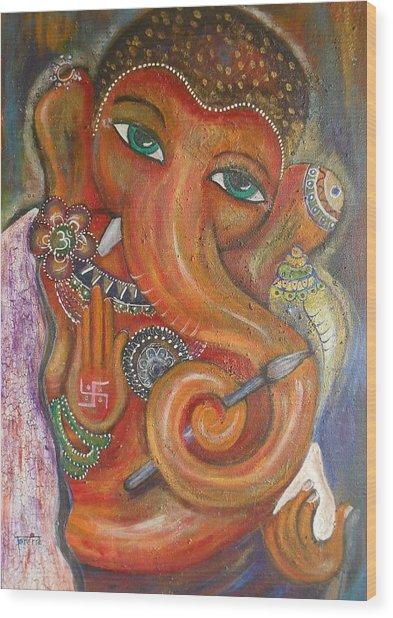 Ganesha My Muse Wood Print