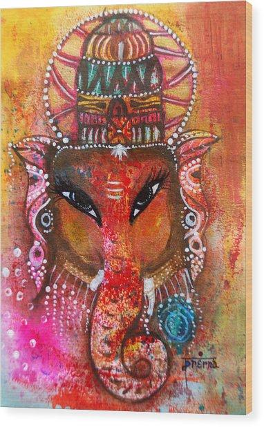Wood Print featuring the mixed media Ganesha by Prerna Poojara