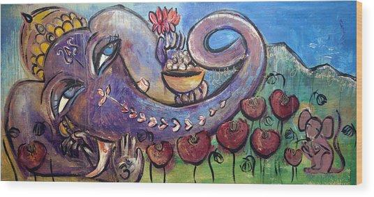 Ganesha With Poppies Wood Print