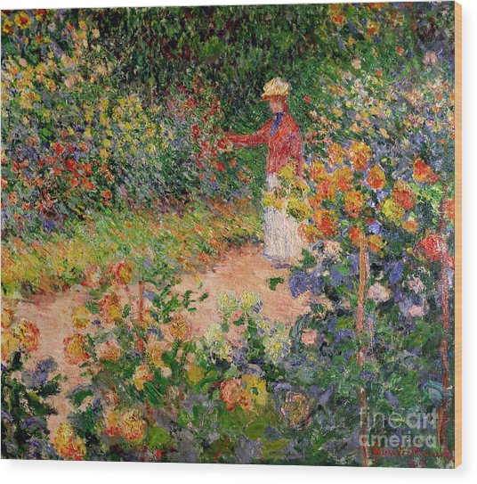 Garden At Giverny Wood Print