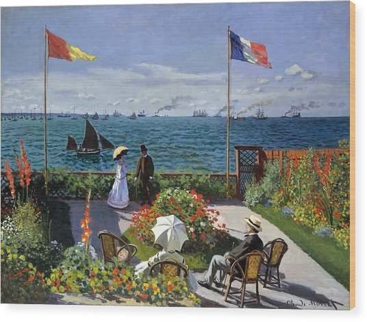 Garden At Sainte Adresse By Claude Monet Wood Print