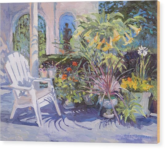 Garden Chair In The Patio Wood Print