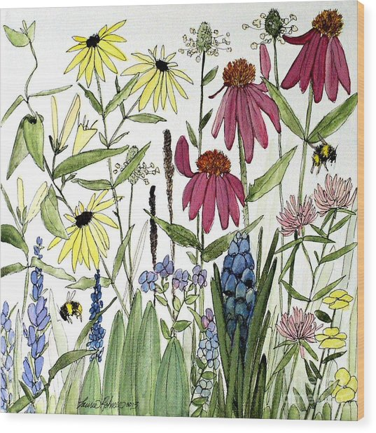 Garden Flowers With Bees Wood Print