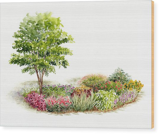 Garden Fresh Watercolor Painting Wood Print