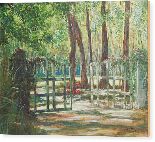 Garden Gate Wood Print by Beth Maddox
