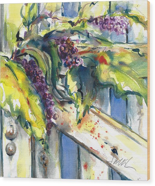 Garden Gate In Fall With Poke Berries  Wood Print