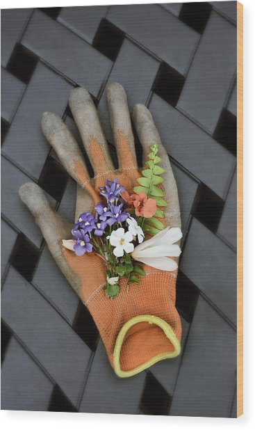 Garden Glove And Flower Blossoms3 Wood Print