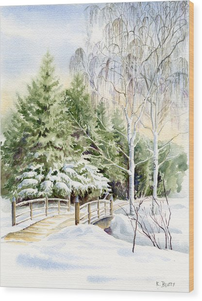 Garden Landscape Winter Wood Print