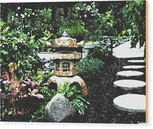 Garden Lantern Wood Print