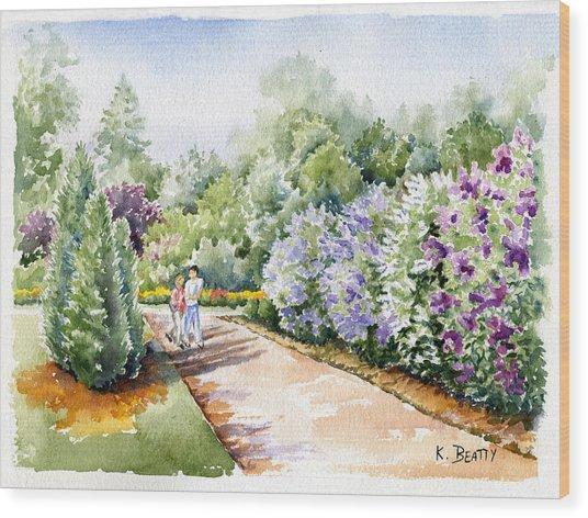 Garden Lilacs Wood Print