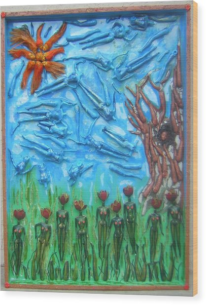 Garden Of Eden Nature Overwhelming Itself Wood Print by Michelley QueenofQueens