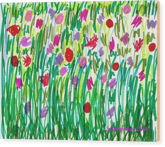 Garden Of Flowers Wood Print
