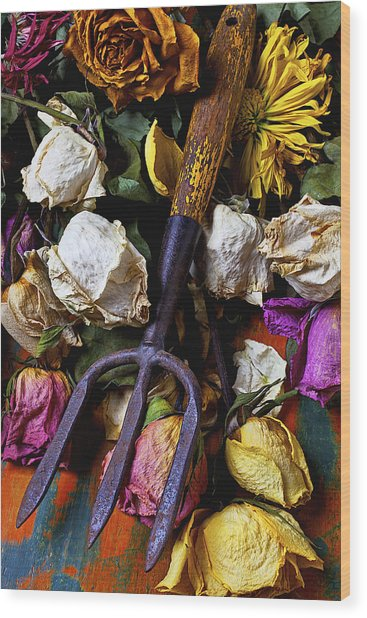 Garden Tool And Old Roses Wood Print