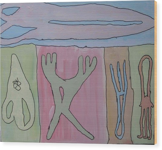 Wood Print featuring the painting Garden Tools by AJ Brown