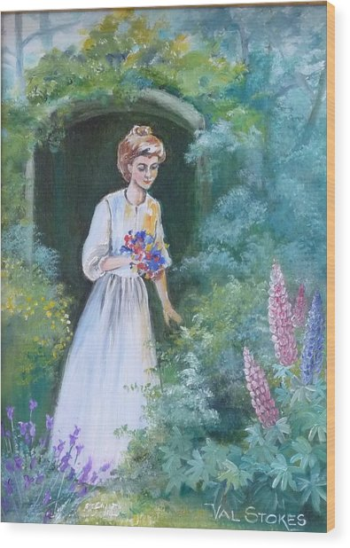 Garden Walk - B Wood Print by Val Stokes