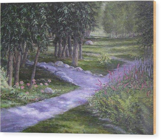 Garden Walk Wood Print