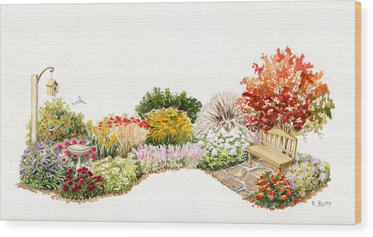 Garden Wild Flowers Watercolor Wood Print