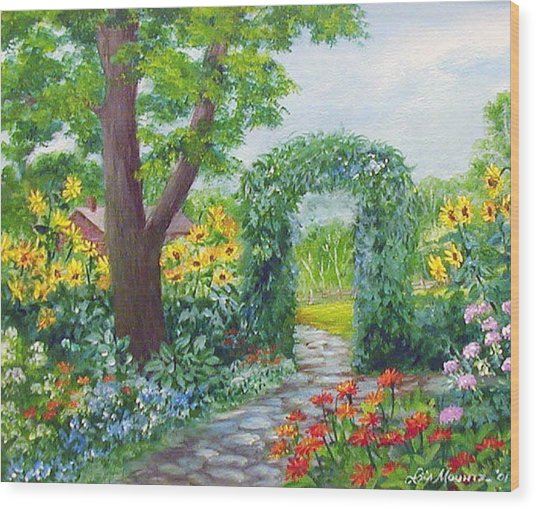 Garden With Sunflowers Wood Print by Lois Mountz