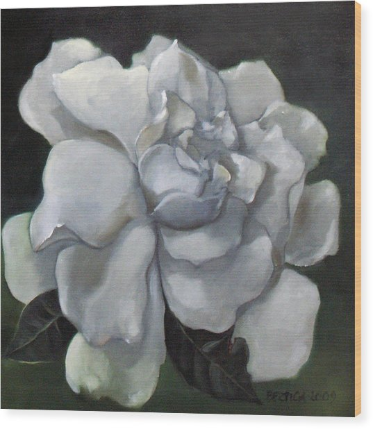 Gardenia Two Wood Print by Bertica Garcia-Dubus