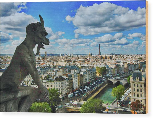 Gargoyle With A View Wood Print