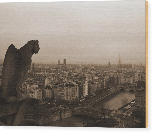 Gargoyle Over Paris Wood Print