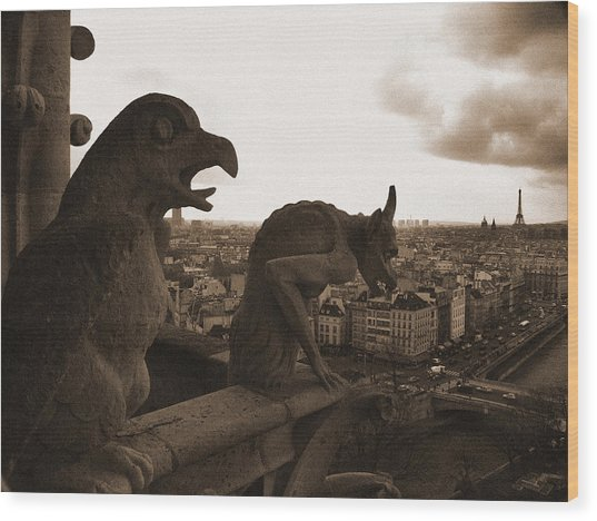 Gargoyles Over Paris Wood Print