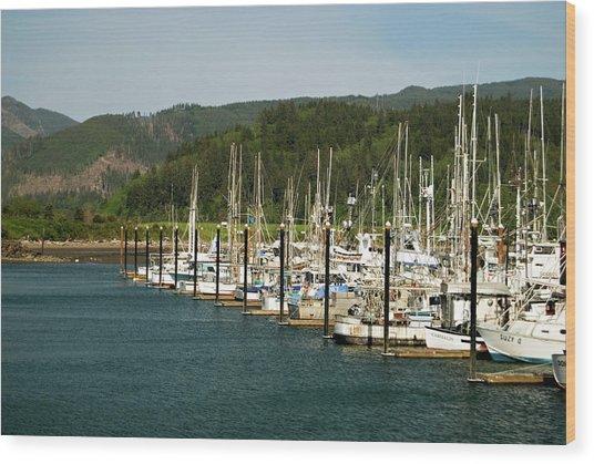 Garibaldi Oregon Marina Wood Print