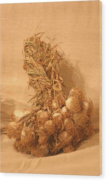 Garlic Time 3 Wood Print by Jez C Self